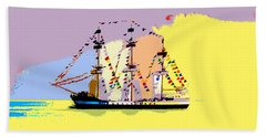 Beach Towel featuring the painting Jose Gasparilla Sailing Colorful Tampa Bay by David Lee Thompson