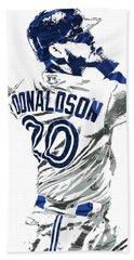 Beach Towel featuring the mixed media Josh Donaldson Toronto Blue Jays Pixel Art by Joe Hamilton