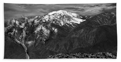 Beach Sheet featuring the photograph Joshua Tree At Keys View In Black And White by Randall Nyhof