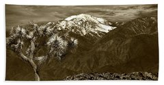 Beach Sheet featuring the photograph Joshua Tree At Keys View In Sepia Tone by Randall Nyhof