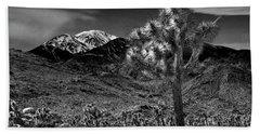 Beach Towel featuring the photograph Joshua Tree In Black And White In Joshua Park National Park With The Little San Bernardino Mountains by Randall Nyhof