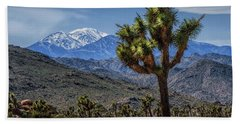Beach Towel featuring the photograph Joshua Tree In Joshua Park National Park With The Little San Bernardino Mountains In The Background by Randall Nyhof