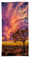Joshua Tree In The Glowing Swirls Beach Towel