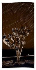Joshua Tree Night Lights Death Valley Bw Beach Towel