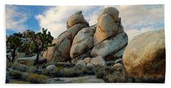 Joshua Tree Rock Formations At Dusk  Beach Towel