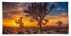 Beach Towel featuring the photograph Joshua Trees At Sunset by Rikk Flohr