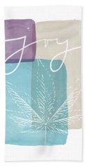 Joy Cannabis Leaf Watercolor- Art By Linda Woods Beach Towel by Linda Woods