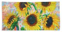 Joy Of Sunflowers Desiring Beach Sheet