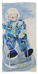 Beach Towel featuring the painting Joy Ride by Maria Langgle
