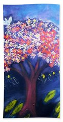 Beach Towel featuring the painting Joy by Winsome Gunning