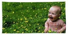 Joyful Baby In Flowers Beach Towel