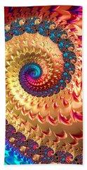 Beach Sheet featuring the digital art Joyful Fractal Spiral Full Of Energy by Matthias Hauser