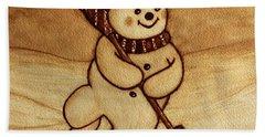 Joyful Snowman  Coffee Paintings Beach Towel