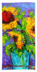Joyful Trio - Sunflowers Still Life - Modern Impressionistic Art - Palette Knife Beach Sheet
