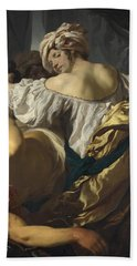 Judith In The Tent Of Holofernes Beach Towel