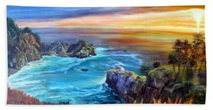 Beach Sheet featuring the painting Julia Pfeiffer Beach by LaVonne Hand