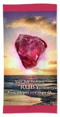 July Birthstone Ruby Beach Towel