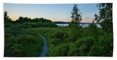 July Sunset At The Lake Enajarvi Beach Towel
