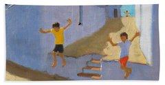 Jumping Off A Wall Beach Towel
