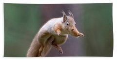 Jumping Red Squirrel Beach Sheet