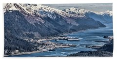 Juneau From Above Beach Sheet by Shirley Mangini