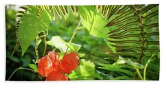 Jungle Begonia Beach Towel