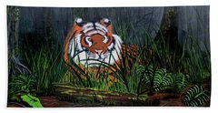Beach Towel featuring the painting Jungle Cat by Myrna Walsh