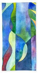 Beach Towel featuring the painting Jungle River Abstract by Kristen Fox