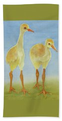 Beach Towel featuring the painting Junior Birdmen by Judy Mercer
