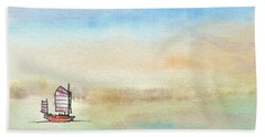 Junk Sailing Beach Towel by R Kyllo