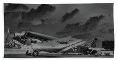Junkers Ju52 Black And White Beach Towel