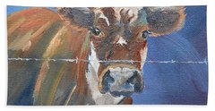 Beach Sheet featuring the painting Just A Big Happy Cow On A Little Square Canvas by Jan Dappen