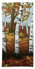 Beach Towel featuring the painting Just Birches by Inese Poga