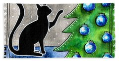 Just Counting Balls - Christmas Cat Beach Towel