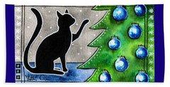Just Counting Balls - Christmas Cat Beach Sheet