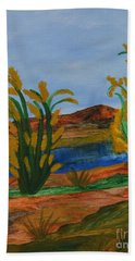 Beach Towel featuring the painting Just This Side Of The River by Maria Urso