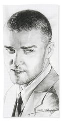 Justin Timberlake Drawing Beach Towel