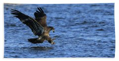 Beach Towel featuring the photograph Juvenile Eagle Fishing by Coby Cooper