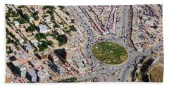 Kabul Traffic Circle Aerial Photo Beach Towel