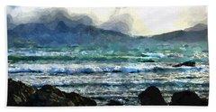 Beach Sheet featuring the digital art Kaikoura Seascape by Kai Saarto
