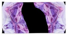 Kaleidoscope Cat Silhouette Beach Towel