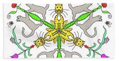 Kaleidoscope Cats Beach Towel by Debra Baldwin