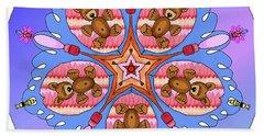 Kaleidoscope Of Bears And Bees Beach Towel by Debra Baldwin