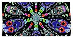 Kaleidoscope Of Skulls Beach Towel by Debra Baldwin