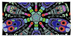 Kaleidoscope Of Skulls Beach Sheet