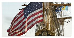 Kalmar Nyckel American Flag Beach Towel by Alice Gipson
