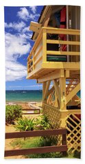 Beach Towel featuring the photograph Kamaole Beach Lifeguard Tower by James Eddy