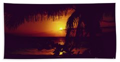 Kamaole Tropical Nights Sunset Gold Purple Palm Beach Towel by Sharon Mau
