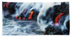 Kamokuna Lava Ocean Entry, 2016 Beach Towel
