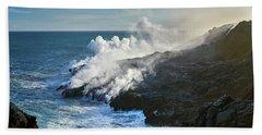Kamokuna Lava Ocean Entry Beach Towel